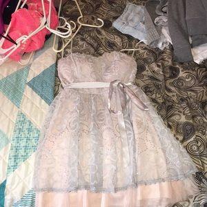 Light grey and blush pink hoco dress